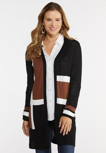 Plus Size Colorblock Duster Cardigan