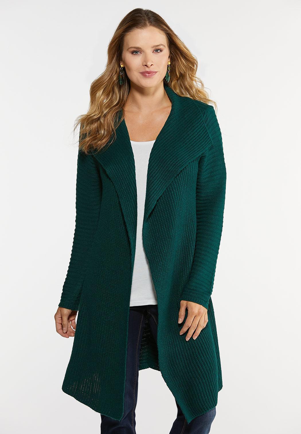 Plus Size Knit Yarn Cardigan