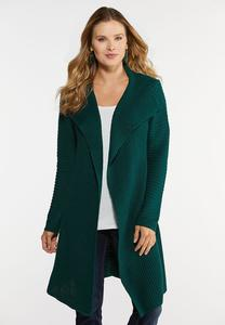 Plus Size Knit Yarn Cardigan