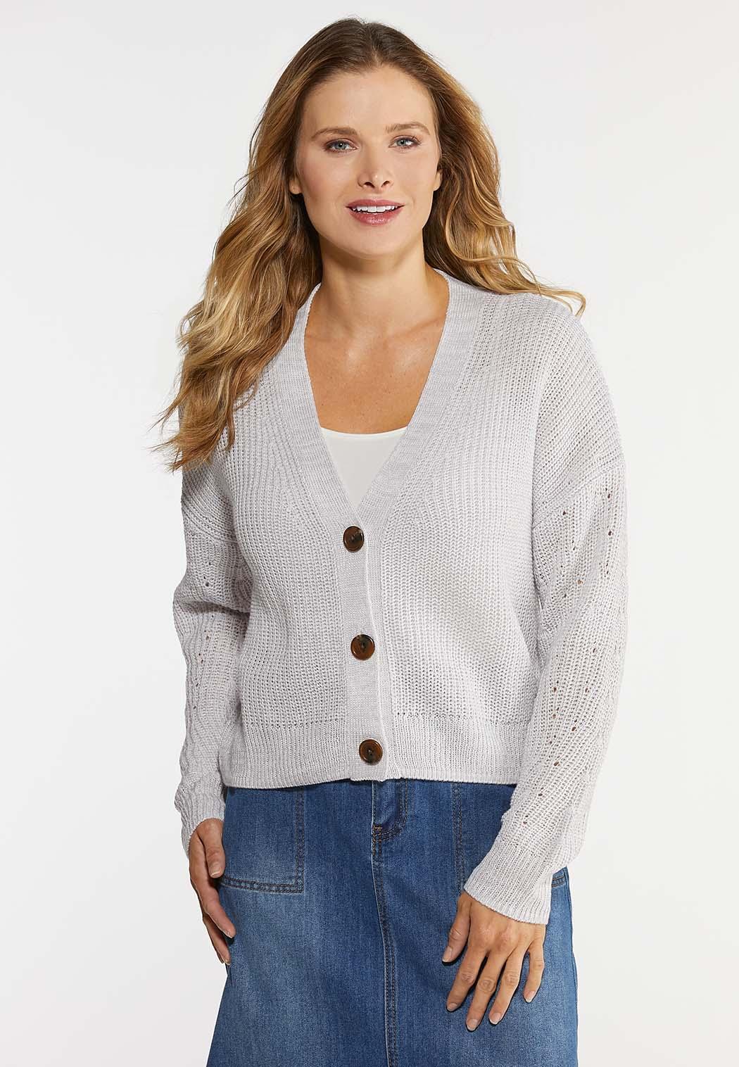 Plus Size Skimmer Button Cardigan