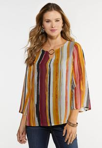 Plus Size Striped Hardware Top