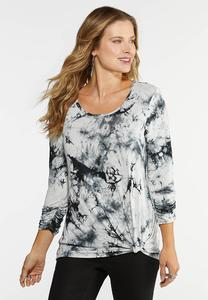 Plus Size Tie Dye Twist Hem Top