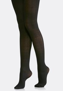 Cable Knit Black Tights