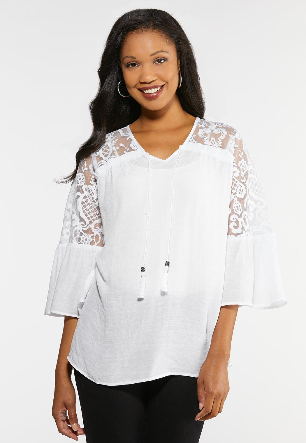 Plus Size Mesh Embroidered Poet Top