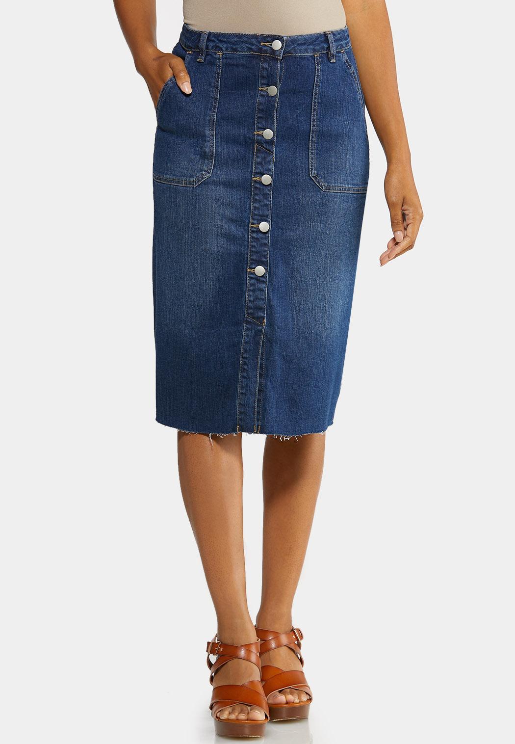 Plus Size Raw Edge Denim Skirt