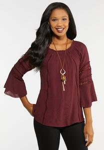 Plus Size Convertible Lace Trim Poet Top