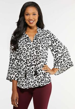 Plus Size Animal Print Tasseled Poet Top
