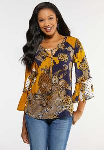Plus Size Ruffled Bell Sleeve Poet Top