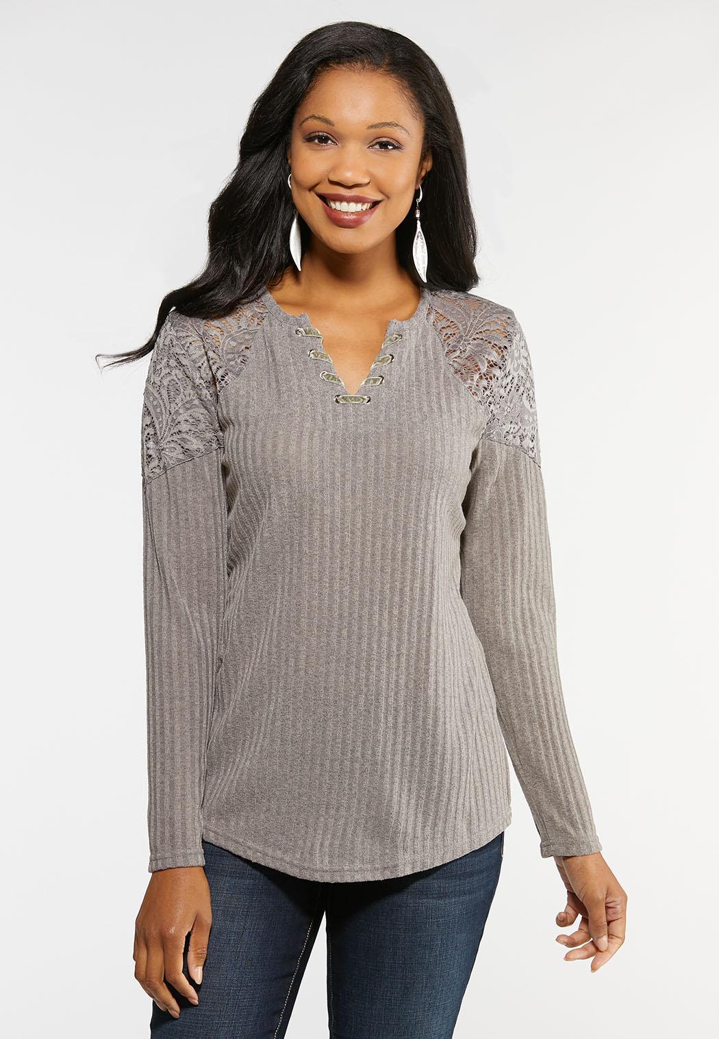 Plus Size Ribbed Lace Shoulder Top