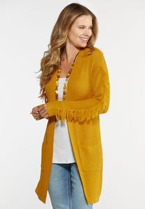 Plus Size Gold Fringe Sleeve Cardigan