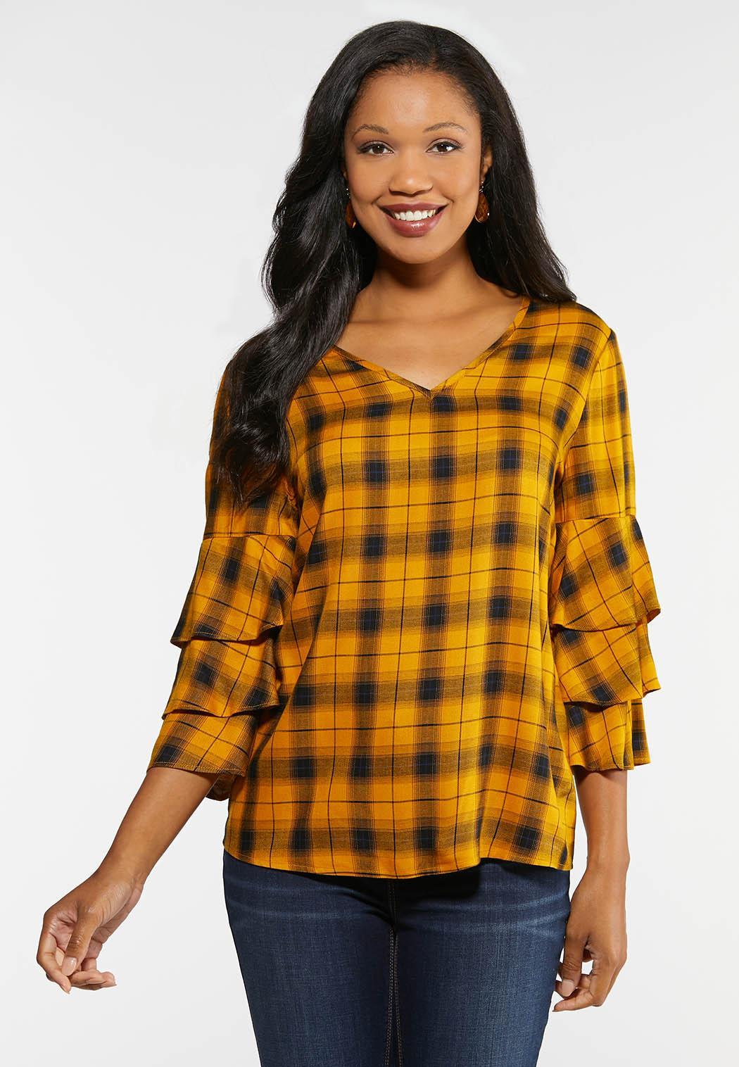 Gold Plaid Ruffled Sleeve Shirt