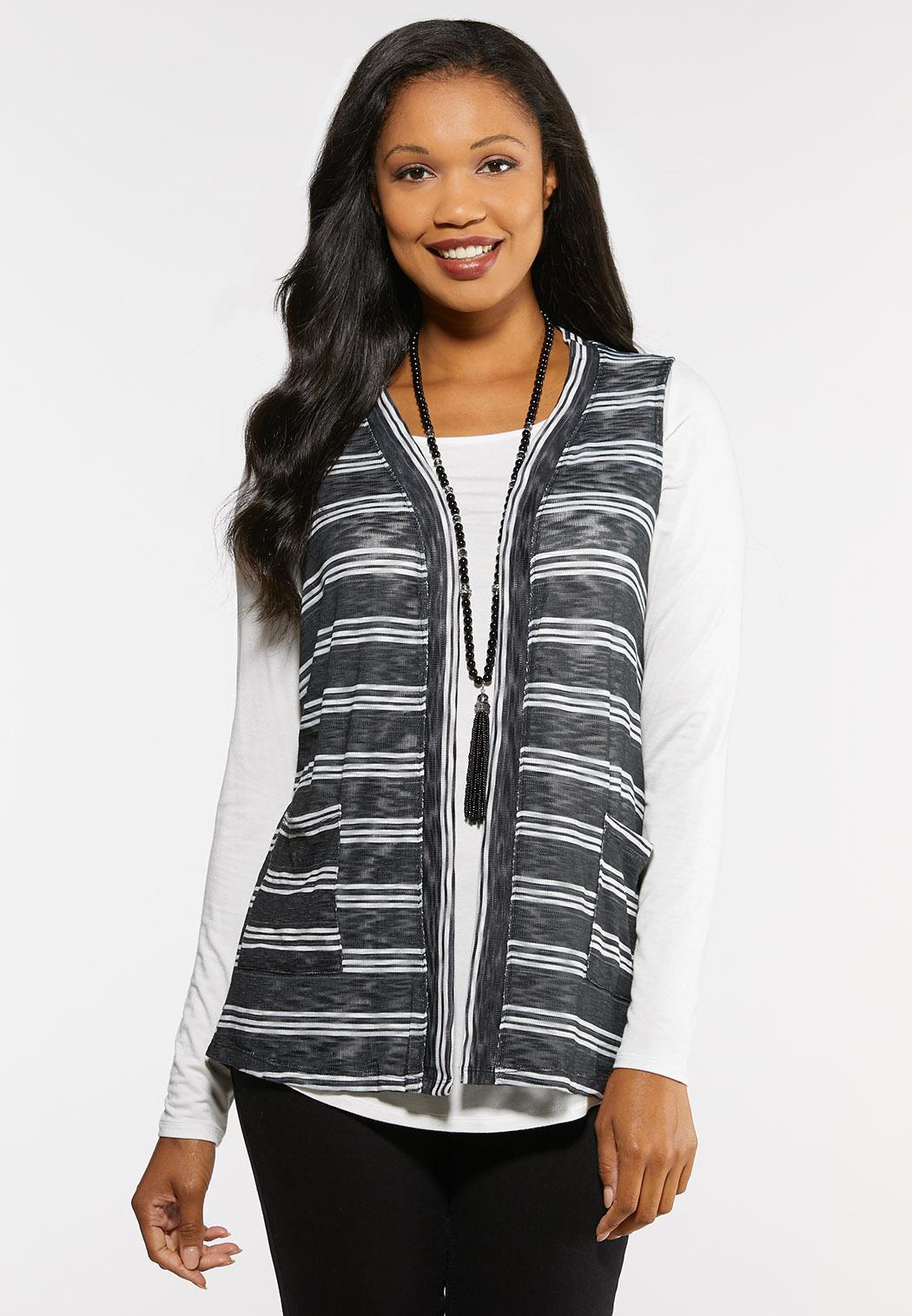 Plus Size Striped Button Back Vest