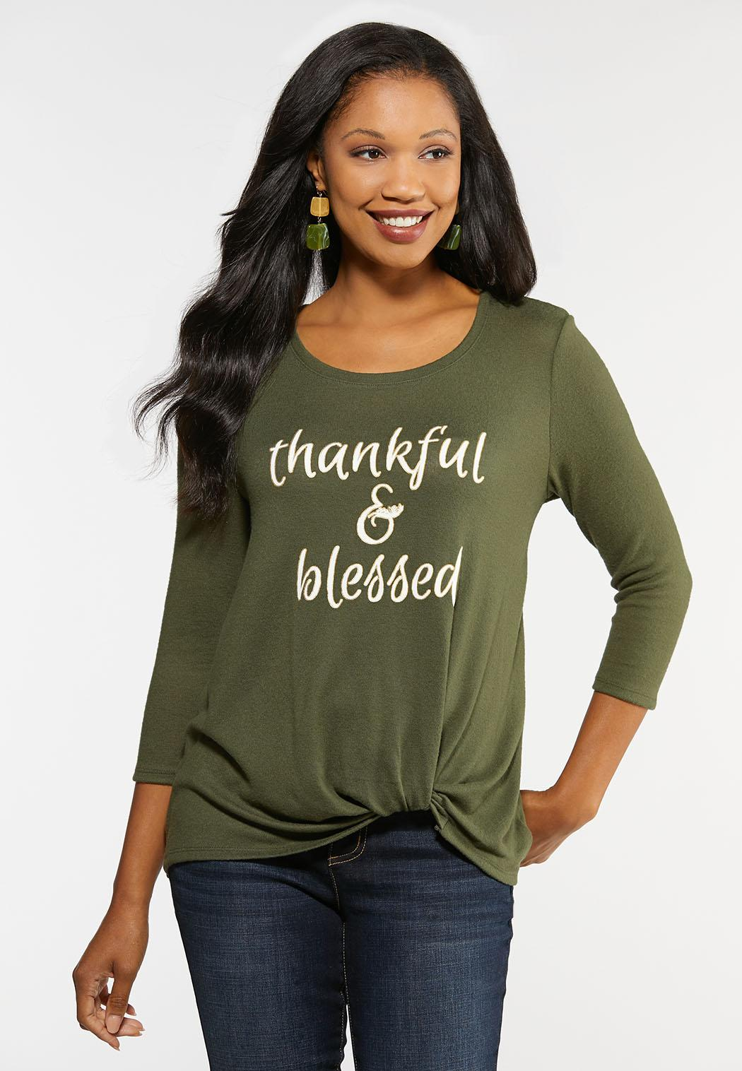 Plus Size Thankful and Blessed Top