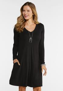 Plus Size Comfy Solid Swing Dress