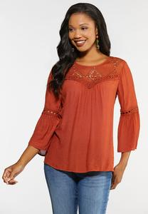 Plus Size Lace Bib Poet Top