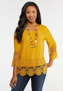 Plus Size Crochet Trim Golden Top