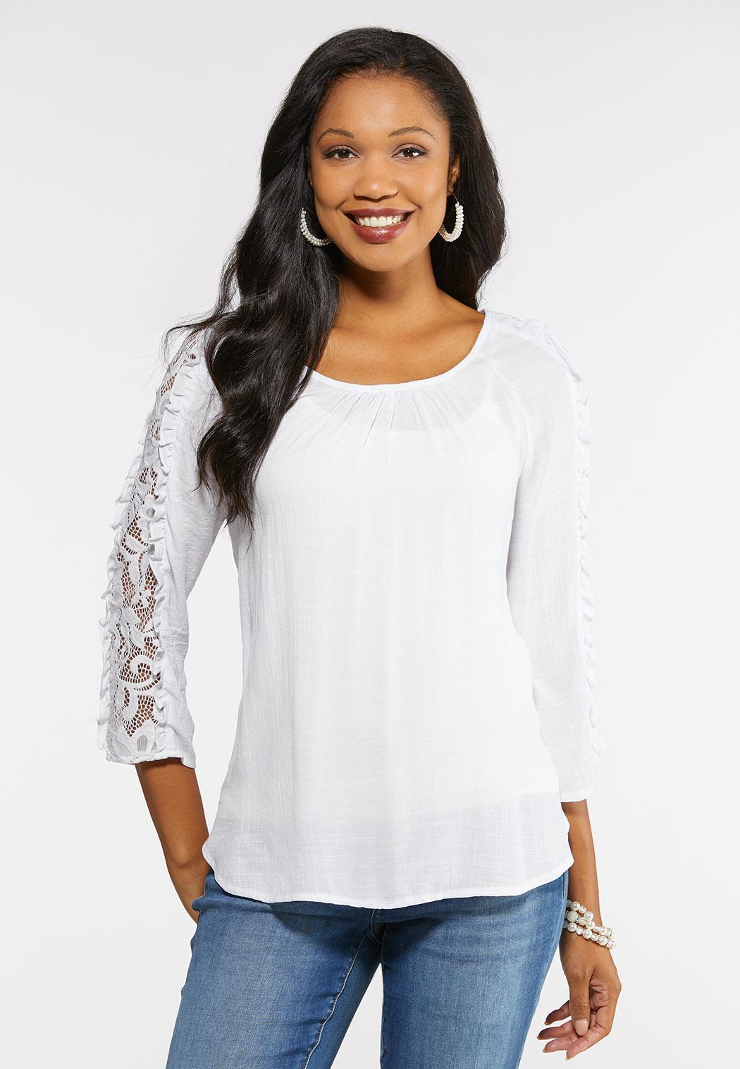 c843b9b4437df Lace Sleeve White Gauze Top