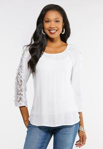 Lace Sleeve White Gauze Top