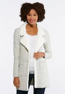 Fleece Collar Sweater Jacket