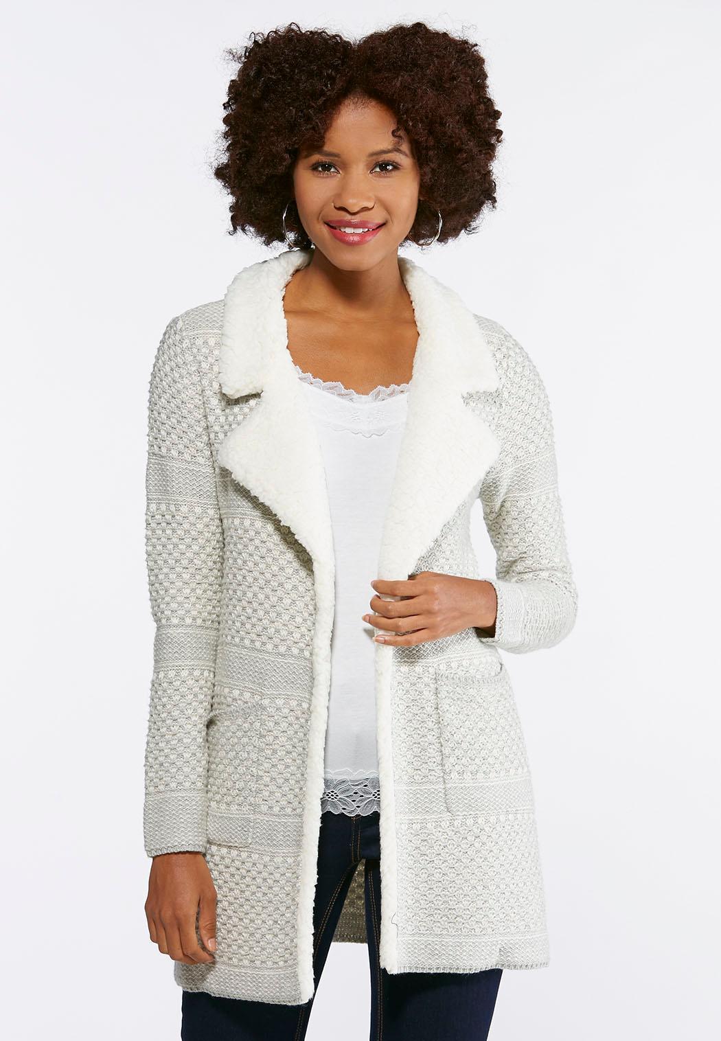 Plus Size Fleece Collar Sweater Jacket