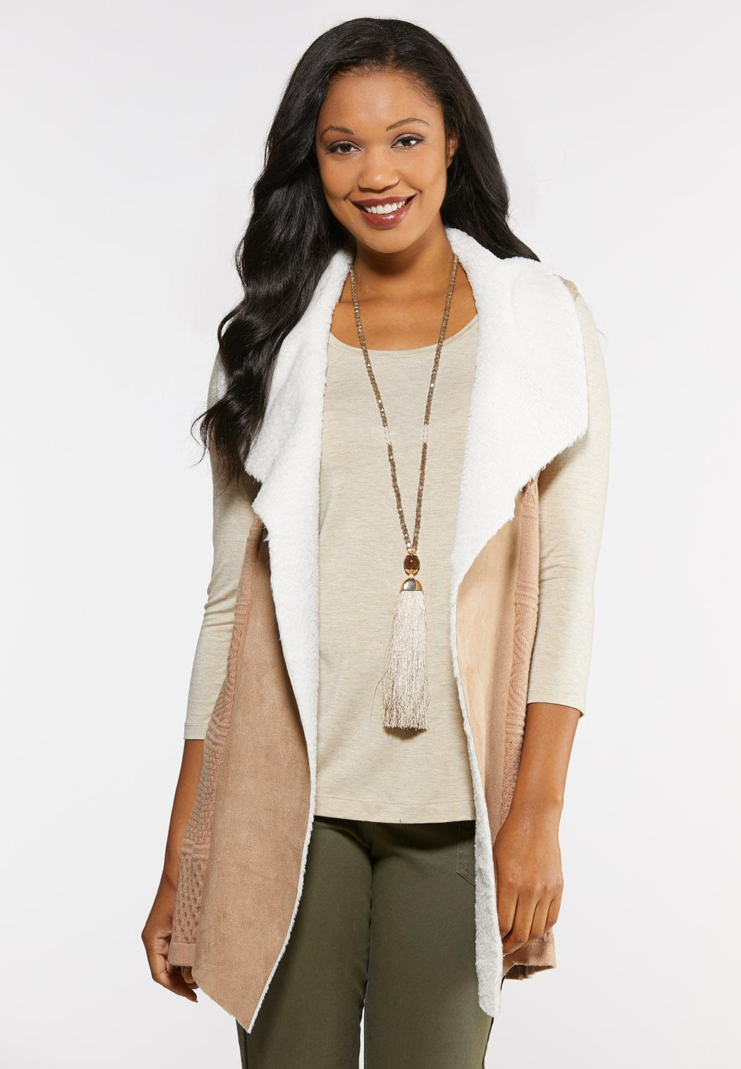 Plus Size Faux Fur Lined Sweater Vest