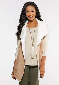 Plus Size Faux Fur Lined Sweater Vest