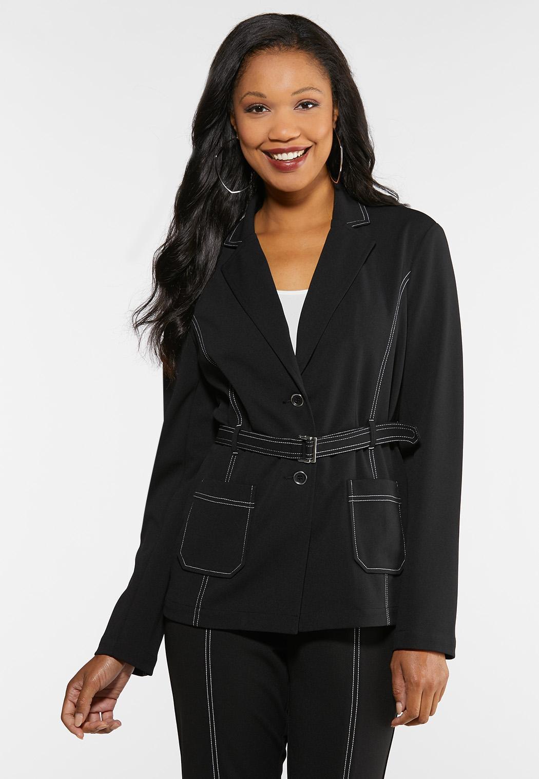 Plus Size Contrast Stitch Belted Blazer