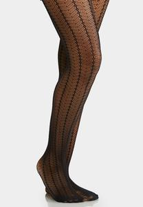 Chevron Stripe Fishnet Tights