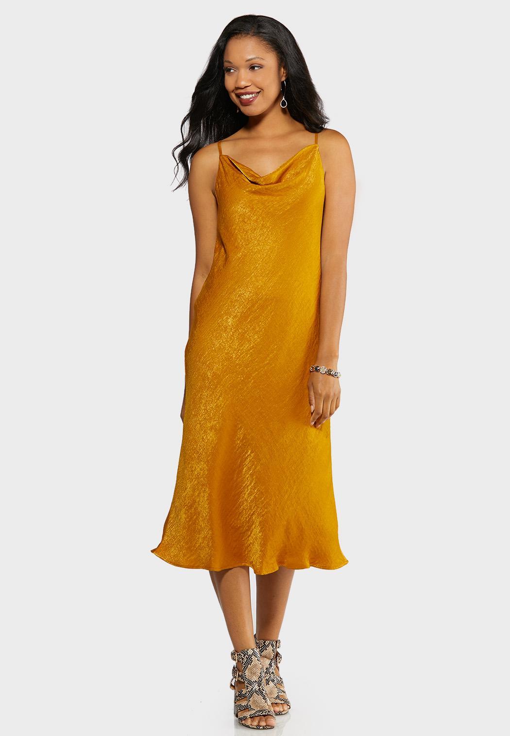 Crushed Satin Slip Dress