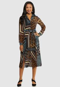 Pleated Mixed Print Midi Dress