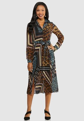 Plus Size Pleated Mixed Print Midi Dress