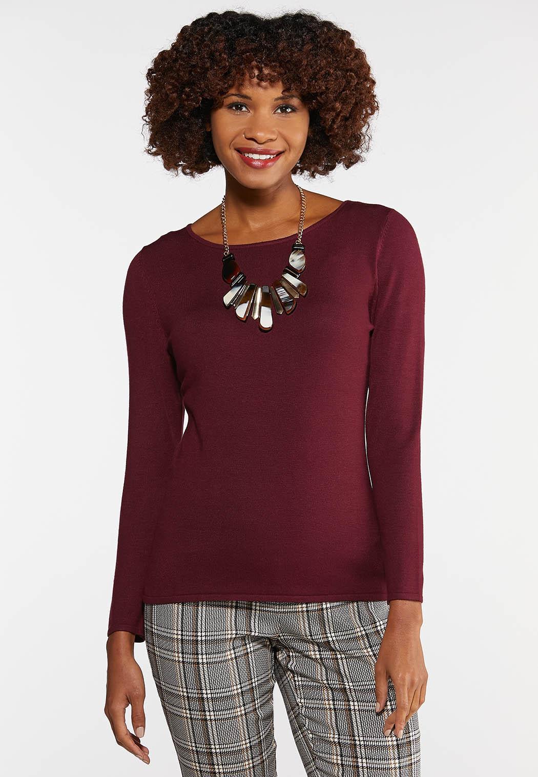 Plus Size Solid Crew Neck Sweater