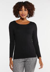 Plus Size Solid Crew Neck Sweater
