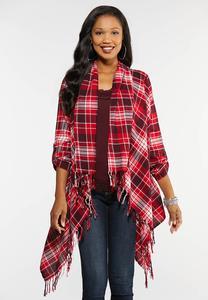 Plus Size Red Plaid Fringe Jacket