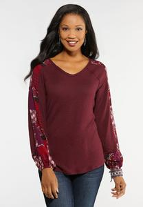 Plus Size Scarf Sleeve Hacci Top