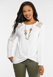 Lace Shoulder Twist Top