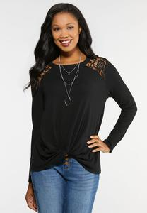 Plus Size Lace Shoulder Twist Top