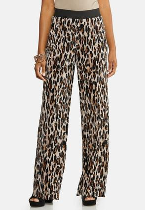 Micro Pleated Leopard Pants