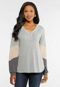 Plus Size Colorblock Waffle Top