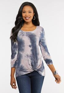 Plus Size Tie Dye Twist Top