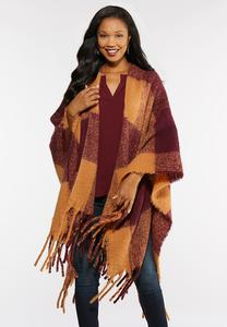Square Plaid Poncho