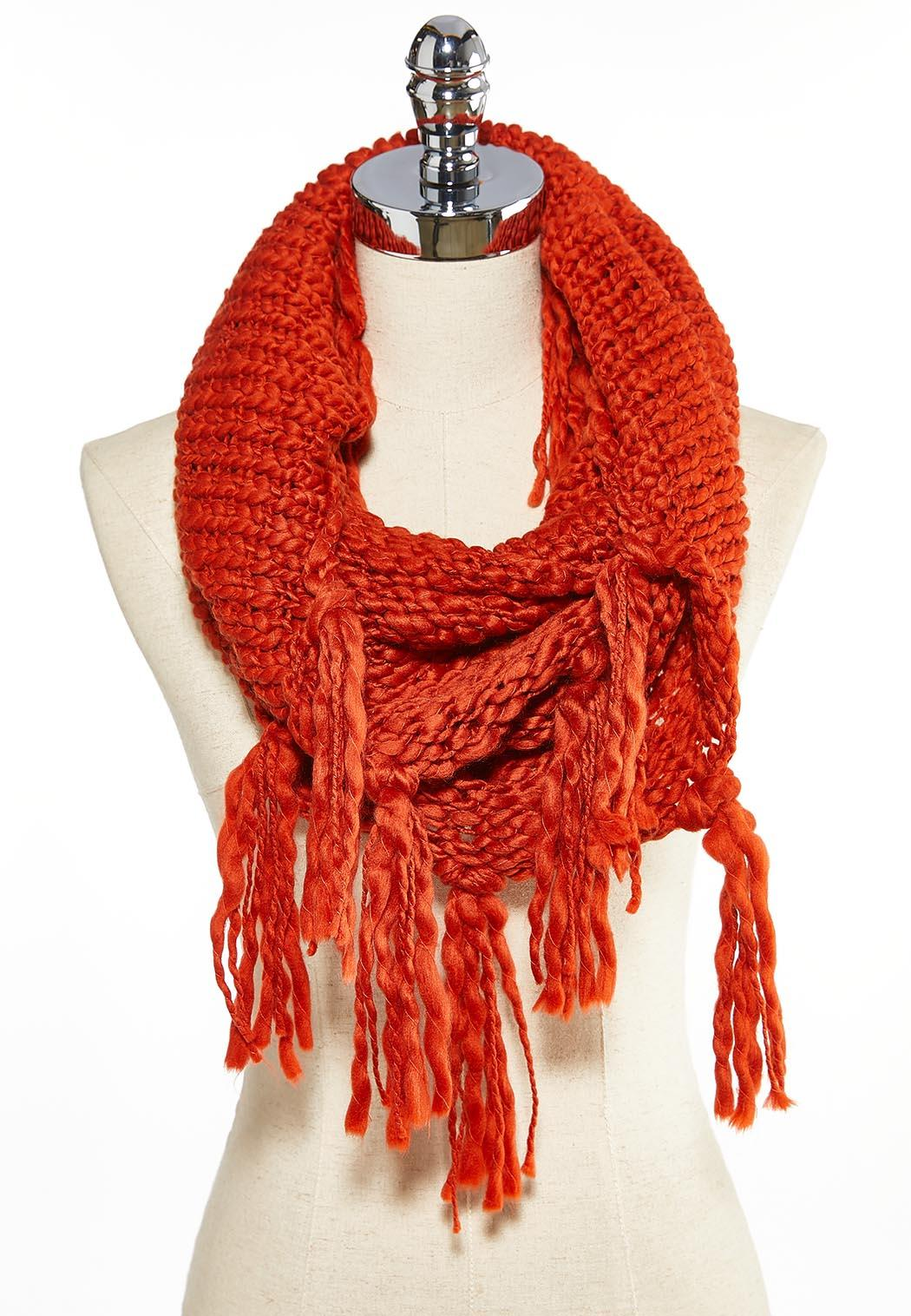 Thick Knit Fringe Infinity Scarf