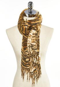 Tiger Print Fleece Scarf