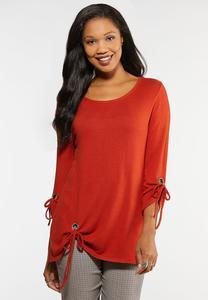 Plus Size Grommet Knit Top