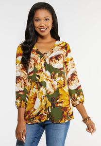 Plus Size Floral Ring Top