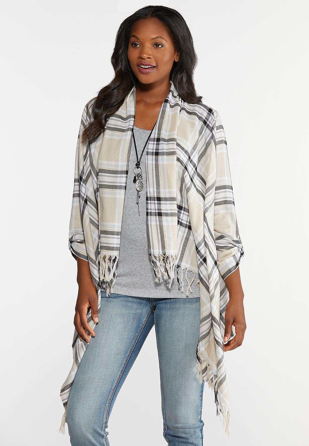 Plus Size Plaid Fringed Jacket