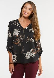 Plus Size Zip Front Floral Popover Top