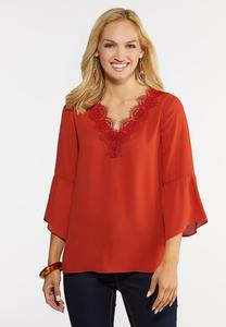 Plus Size Lace V-Neck Top