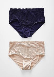 Plus Size High Waist Lace Panty Set