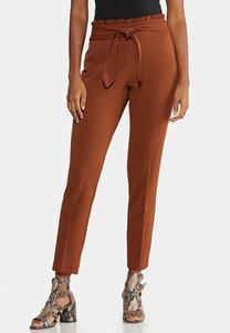 Ruffle Tie Waist Slim Leg Pants